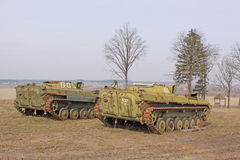 Belarus. Minsk. Soviet old BMP (Armored tracked vehicle) in the museum Stalin Line. Stock Photography
