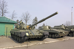 Belarus. Minsk. Soviet  Tank T-80 in the museum Stalin Line. BMP (Armored tracked vehicle) in the museum Stalin Line in Belarus Royalty Free Stock Photography