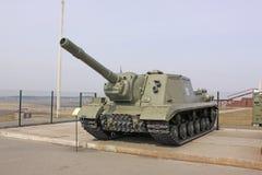 belarus minsk Unidad automotora SU-152 del tanque anti soviético soviético en la línea de Stalin del museo Fotos de archivo