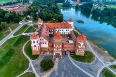 Belarus, Mir Castle. Ancient fortress, UNESCO heritage. Belarus, Mir Castle. Ancient fortress, UNESCO hege Aerial view royalty free stock photography