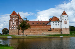 Belarus. Mir Castle, view from the lake Stock Images