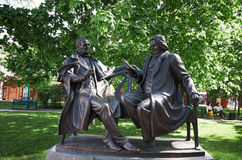 Belarus. Monument to the playwright Vincent Dunin-Marcinkevich and the composer Stanislav Moniuszko. The authors are father Royalty Free Stock Photos