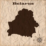 Belarus old map with grunge and crumpled paper. Vector illustration Stock Images