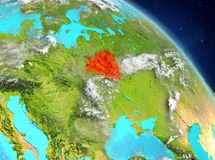 Belarus from orbit. Illustration of Belarus as seen from Earth's orbit. 3D illustration. Elements of this image furnished by NASA Royalty Free Stock Photos