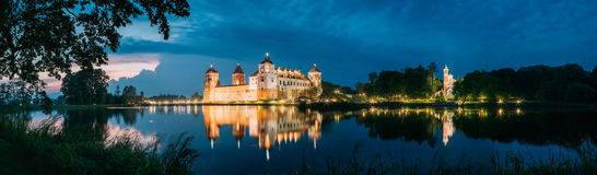 Belarus. Panoramic View Of Mir Castle Complex In Evening Illumin Stock Photography