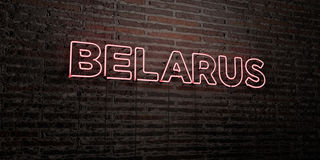 BELARUS -Realistic Neon Sign on Brick Wall background - 3D rendered royalty free stock image Royalty Free Stock Photos
