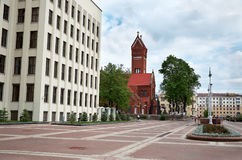 Belarus. Red church near the Government House in Minsk. May 21, 2017 royalty free stock image