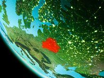 Belarus in red in the evening. Country of Belarus in red on planet Earth in the evening. 3D illustration. Elements of this image furnished by NASA Stock Images