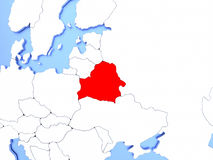 Belarus in red on map Stock Images