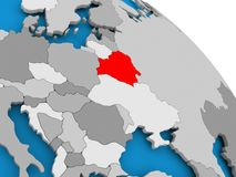 Belarus in red on map. Illustration of Belarus highlighted in red on globe. 3D illustration Royalty Free Stock Photography