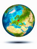 Belarus on Earth with white background. Belarus in red on model of planet Earth hovering in space. 3D illustration isolated on white background. Elements of this stock image