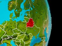 Belarus on Earth. Belarus in red on planet Earth with visible borderlines. 3D illustration. Elements of this image furnished by NASA Stock Photos