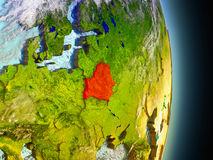 Belarus in red from space Stock Image