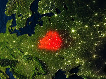 Belarus in red from space at night Royalty Free Stock Photos