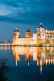 Belarus. Scenic View Of Mir Castle Complex In Bright Evening Ill Stock Image