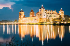 Belarus. Scenic View Of Mir Castle Complex In Bright Evening Ill Royalty Free Stock Photos