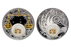 Belarus silver coin astrology Libra stock photos