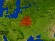 Belarus from space in red Stock Image
