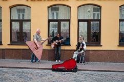 Belarus. Street musicians in the city of Grodno in Belarus. May 24, 2017. Belarus. Grodno. Street musicians in the city of Grodno in Belarus. May 24, 2017 Royalty Free Stock Image