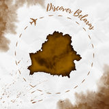 Belarus watercolor map in sepia colors. Discover Belarus poster with airplane trace and handpainted watercolor Belarus map on crumpled paper. Vector Royalty Free Stock Photo