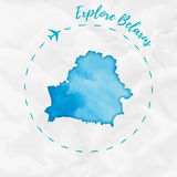 Belarus watercolor map in turquoise colors. Royalty Free Stock Images