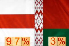 97% 3% belarus. wooden blocks with the inscription 97% and 3% against the background of two flags of belarus.