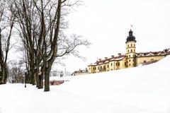 Nesvizh Castle. winter stock photos