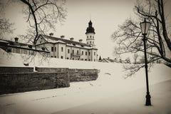 Nesvizh Castle. winter royalty free stock image