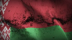 Belarus grunge dirty flag waving on wind. Belarusian background fullscreen grease flag blowing on wind. Realistic filth fabric texture on windy day Royalty Free Stock Image