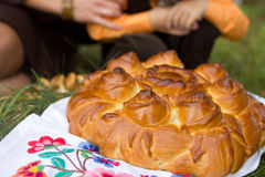 Belarusian birthday pie in national style Royalty Free Stock Images