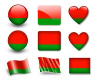 The Belarusian flag. Set of icons and flags. glossy and matte on a white background Stock Images