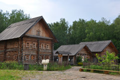 Belarusian lodges in ethnographic park museum Stock Images