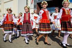 Belarusian ludzie świętują miasto dzień Minsk Zdjęcia Stock