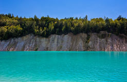 Belarusian Maldives. Blue sky of the mountain and blue water Royalty Free Stock Photography