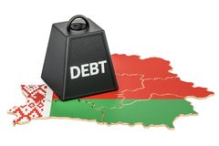 Belarusian national debt or budget deficit, financial crisis con. Cept, 3D Royalty Free Stock Image