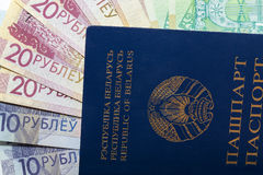 Belarusian passport and money Stock Photo