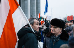 Belarusian people participate in the protest against the decree 3 in Minsk Stock Photos