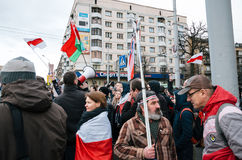 Belarusian people participate in the protest against the decree 3 in Minsk Royalty Free Stock Photography