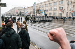Belarusian people participate in the protest against the decree 3 in Minsk Stock Photography