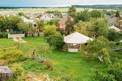 Belarusian Or Russian Wooden Guest House In Village Or Countrysi Royalty Free Stock Photography