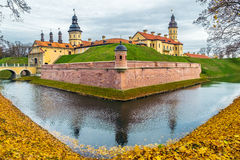 Belarusian tourist landmark attraction Nesvizh Castle - medieval castle in Nesvizh, Belarus. NESVIZH CASTLE, BELARUS - OCTOBER 19, 2014: The palace and castle Royalty Free Stock Images