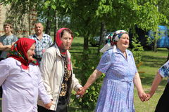 Belarusian women in traditional folk ceremony may 25th, 2015 in the village Cossack Balcony Vetka district, Gomel region. Royalty Free Stock Image
