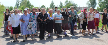 Belarusian women in traditional folk ceremony may 25th, 2015 in the village Cossack Balcony Vetka district, Gomel region. Stock Photos