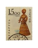 Belarussian post stamp. With traditional souvenirdoll from straw isolated Royalty Free Stock Image