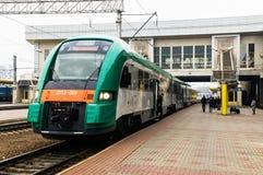 Belarussian railway diesel train PESA 730M DP3 at Minsk railwa. Y station. Novemder 2014 Stock Photos