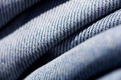 Belas artes macro extremas do fundo das fibras da roupa de cal?as de ganga nos produtos de alta qualidade 50,6 Megapixels das c?p imagens de stock royalty free