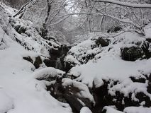 Belasitsa Mountain Bulgaria has fallen snow and running water from a high waterfall stock video footage