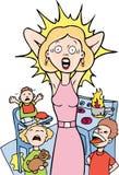 belastad home mom royaltyfri illustrationer