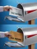 Belastingaangifte en terugbetaling Stock Foto's