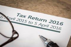 Belastingaangifte het UK 2016 Stock Foto's